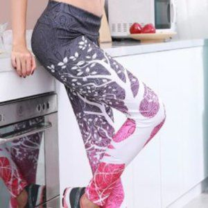 Gray & Pink leggings with tree designs